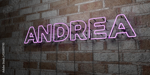 ANDREA - Glowing Neon Sign on stonework wall - 3D rendered royalty free stock illustration Wallpaper Mural