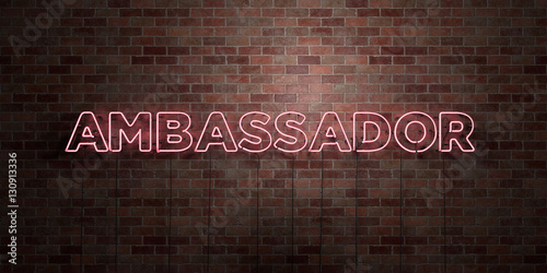 Photo AMBASSADOR - fluorescent Neon tube Sign on brickwork - Front view - 3D rendered royalty free stock picture