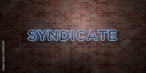SYNDICATE - fluorescent Neon tube Sign on brickwork - Front view - 3D rendered royalty free stock picture Canvas Print