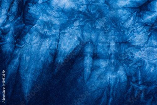 Pattern of Indigo batik dye on cotton cloth, Dye indigo fabric background Wallpaper Mural