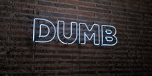 DUMB -Realistic Neon Sign On Brick Wall Background - 3D Rendered Royalty Free Stock Image. Can Be Used For Online Banner Ads And Direct Mailers..