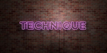 TECHNIQUE - Fluorescent Neon Tube Sign On Brickwork - Front View - 3D Rendered Royalty Free Stock Picture. Can Be Used For Online Banner Ads And Direct Mailers..