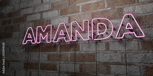 Photo AMANDA - Glowing Neon Sign on stonework wall - 3D rendered royalty free stock illustration