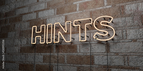 HINTS - Glowing Neon Sign on stonework wall - 3D rendered royalty free stock illustration Wallpaper Mural