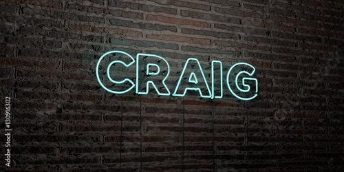 Photo CRAIG -Realistic Neon Sign on Brick Wall background - 3D rendered royalty free stock image