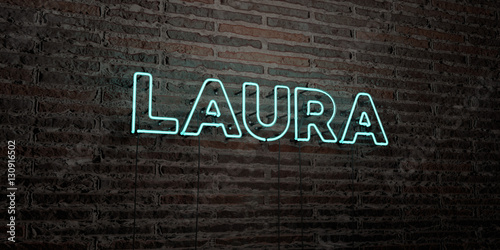 Photo LAURA -Realistic Neon Sign on Brick Wall background - 3D rendered royalty free stock image
