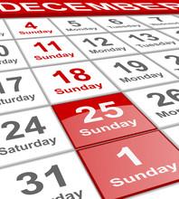 December Planning Calendar Winter Holidays