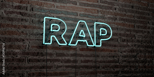 Photo  RAP -Realistic Neon Sign on Brick Wall background - 3D rendered royalty free stock image