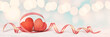 canvas print picture - Two Red Wooden Hearts
