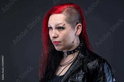 Fotografie, Obraz  Informal woman in leather jacket