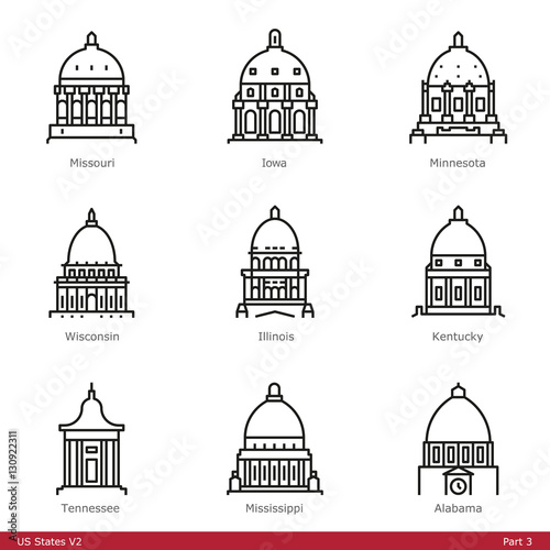 US State Capitols (Part 3) - Line Style Icons Fototapete
