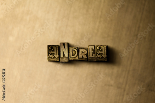 ANDREA - close-up of grungy vintage typeset word on metal backdrop Wallpaper Mural