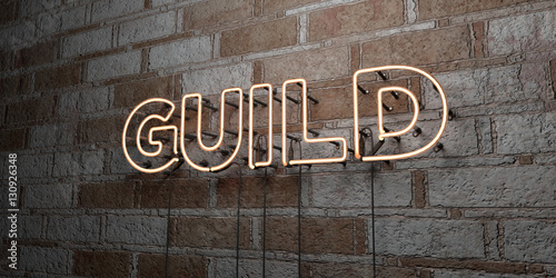 GUILD - Glowing Neon Sign on stonework wall - 3D rendered royalty free stock illustration Wallpaper Mural