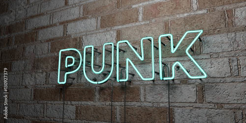Photo  PUNK - Glowing Neon Sign on stonework wall - 3D rendered royalty free stock illustration