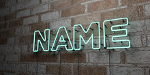 NAME - Glowing Neon Sign On Stonework Wall - 3D Rendered Royalty Free Stock Illustration.  Can Be Used For Online Banner Ads And Direct Mailers..