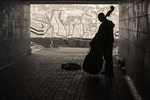 Street Musician Playing On Dou...