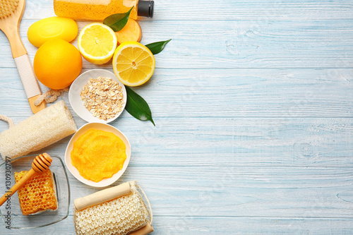 Body care set for peeling on wooden background Canvas Print