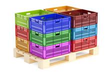 Stack Colored Plastic Crates O...