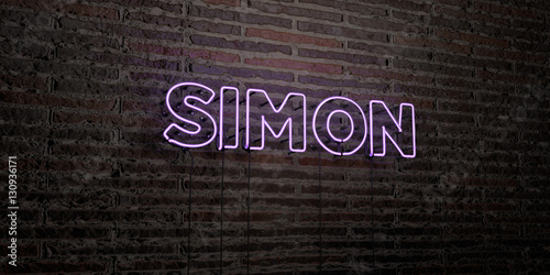 Cuadros en Lienzo SIMON -Realistic Neon Sign on Brick Wall background - 3D rendered royalty free stock image