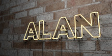 ALAN - Glowing Neon Sign On Stonework Wall - 3D Rendered Royalty Free Stock Illustration.  Can Be Used For Online Banner Ads And Direct Mailers..