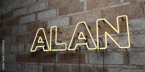 ALAN - Glowing Neon Sign on stonework wall - 3D rendered royalty free stock illustration Poster