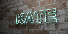 KATE - Glowing Neon Sign On Stonework Wall - 3D Rendered Royalty Free Stock Illustration.  Can Be Used For Online Banner Ads And Direct Mailers..