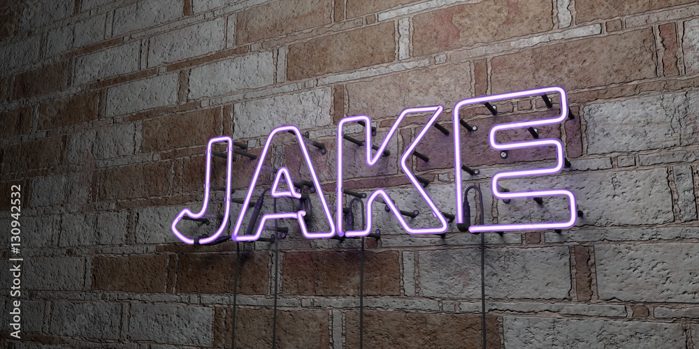Photo  JAKE - Glowing Neon Sign on stonework wall - 3D rendered royalty free stock illustration