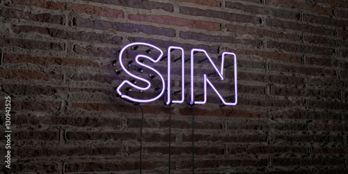 Fototapeta SIN -Realistic Neon Sign on Brick Wall background - 3D rendered royalty free stock image