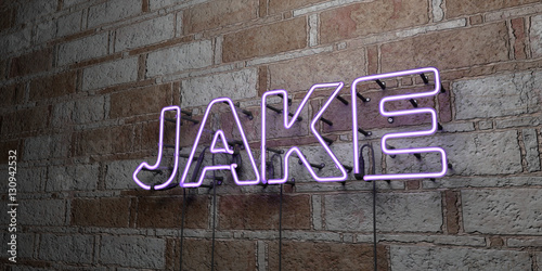 JAKE - Glowing Neon Sign on stonework wall - 3D rendered royalty free stock illustration Wallpaper Mural