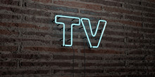 TV -Realistic Neon Sign On Brick Wall Background - 3D Rendered Royalty Free Stock Image. Can Be Used For Online Banner Ads And Direct Mailers..