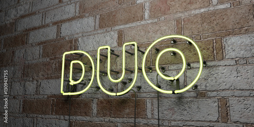 Photo  DUO - Glowing Neon Sign on stonework wall - 3D rendered royalty free stock illustration