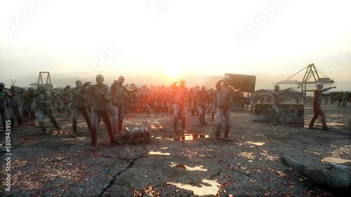 Photo  horror zombie crowd walking