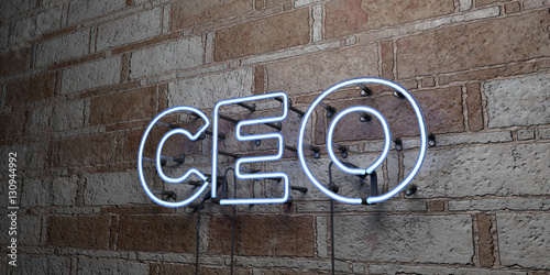 Cuadros en Lienzo  CEO - Glowing Neon Sign on stonework wall - 3D rendered royalty free stock illustration