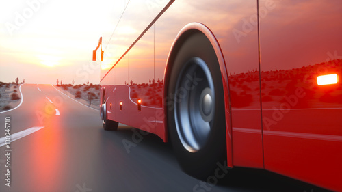 Foto op Plexiglas Rood paars touristic red bus on highway. Fast driving. realistic 3d rendering.