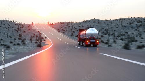 Fototapeta Benzyna cysterna, przyczepa olejowa, ciężarówka na autostradzie. Bardzo szybka jazda. 3d rendering.