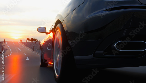 Fotografia, Obraz  Black sport car on road, highway