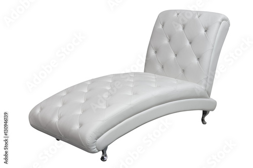Fotografija chaise lounge with white leather upholstery isolated on white background
