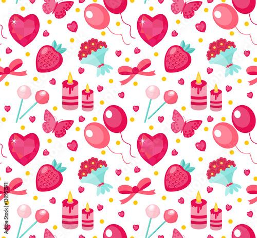 Materiał do szycia Ładny wzór Walentynki z truskawek, serce, kwiat, Motyl, wstążki. Miłość, romans niekończące się tło, tekstura, płaskie kreskówka styl wektor ilustracja Tapety