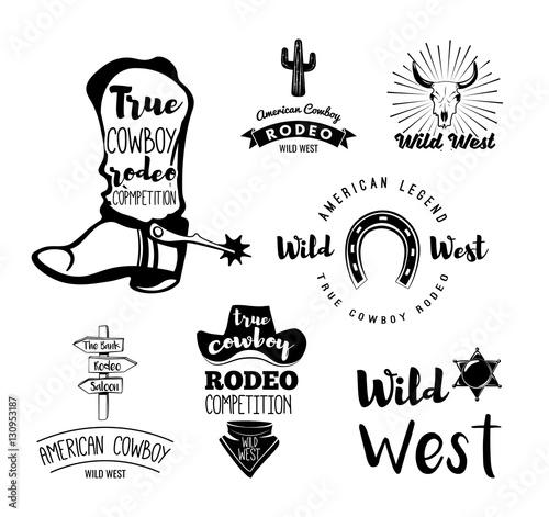 Fényképezés  Vector set of cowboy labels in vintage style