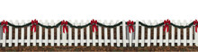 Wood Fence With Red Ribbons