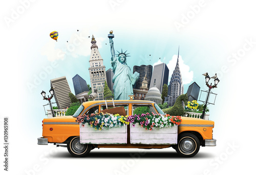 Deurstickers New York TAXI USA, classic yellow Тew York taxi and landmarks