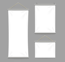 Textile Banners With Folds Set...