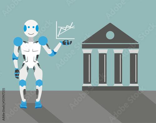 Fotografie, Obraz  Cartoon Robot Graph Stock Exchange