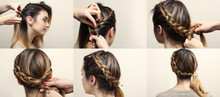 Process Of Weaving Braid.  Boho Style. Hairstyle For Short Hair.