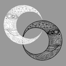 Woman Face In Double Couple Moon, Abstract Line Art Twin Zentangle