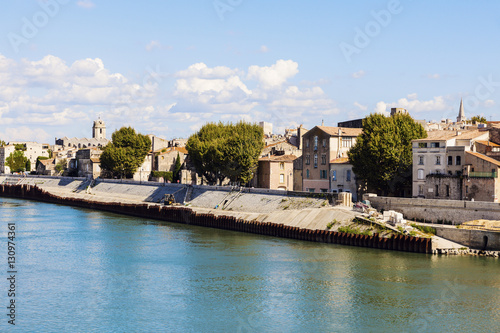 Arles panorama from the river Canvas Print