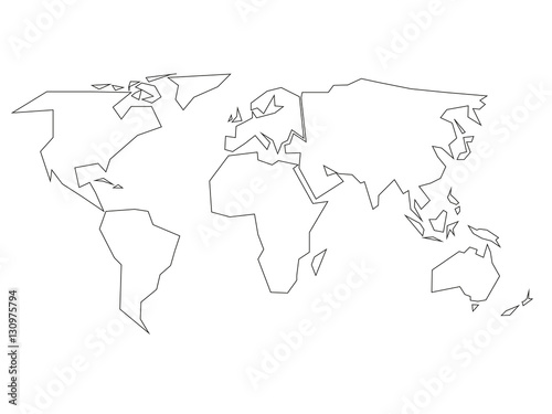 Simplified Black Outline Of World Map Divided To Six Continents