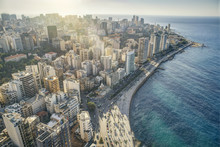 Aerial View Of Beirut Lebanon, City Of Beirut, Beirut City Scape
