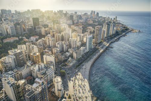 Aerial View of Beirut Lebanon, City of Beirut, Beirut city scape Fotobehang