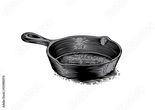 Fotografie, Obraz  Black cast iron pan